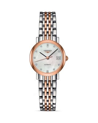 LONGINES L4.309.5.11.7 Elegant Stainless Steel And Rose Gold Watch
