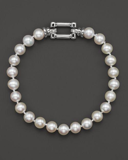 Bloomingdale's - Cultured Freshwater Pearl Bracelet in 14K White Gold with Diamonds, 6.5mm - 100% Exclusive
