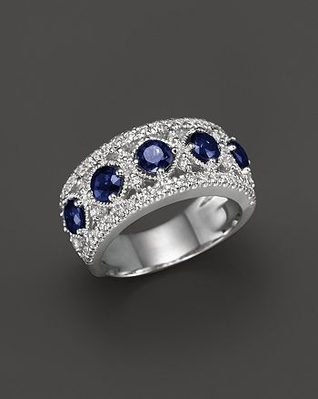 Bloomingdale's - Blue Sapphire and Diamond Band Ring in 14K White Gold - 100% Exclusive