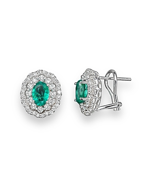 Emerald and Diamond Oval Stud Earrings in 14K White Gold - 100% Exclusive