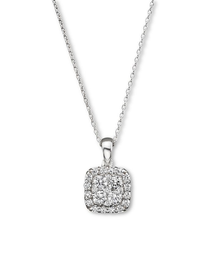 Bloomingdale's - Diamond Cluster Pendant Necklace in 14K White Gold, .50 ct. t.w. - 100% Exclusive