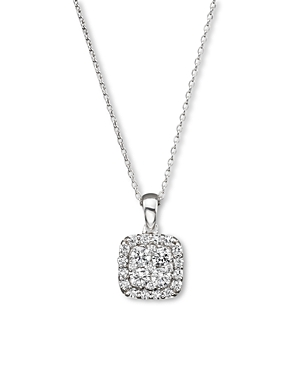 Diamond Cluster Pendant Necklace in 14K White Gold, .50 ct. t.w. - 100% Exclusive