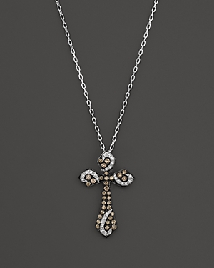 Brown and White Diamond Cross Pendant Necklace in 14K White Gold, 17 - 100% Exclusive