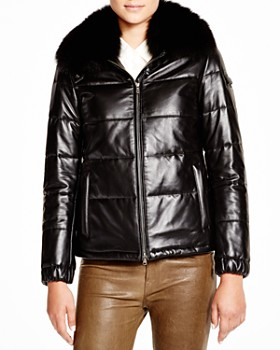 Maximilian Furs - Leather Coat with Saga Fox Collar