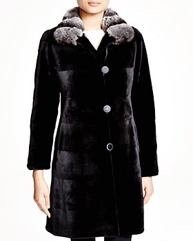Maximilian Furs - Sheared Kopenhagen Mink Reversible Coat with Chinchilla Collar - 100% Exclusive