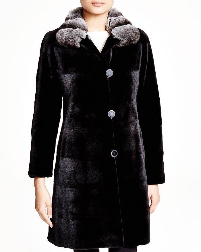 Maximilian Furs - Sheared Kopenhagen Mink Reversible Coat with Chinchilla Collar - 100% Exclusive