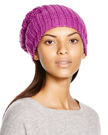 AQUA - Chunky Knit Solid Slouchy Hat - 100% Exclusive