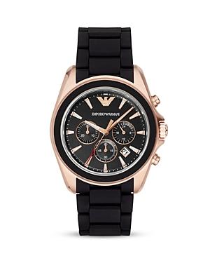 Emporio Armani Rubber 3-Link Bracelet Watch, 44mm