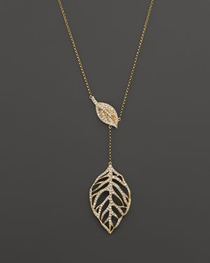 Diamond Leaf Pendant Necklace in 14K Yellow Gold, .65 ct. t.w.