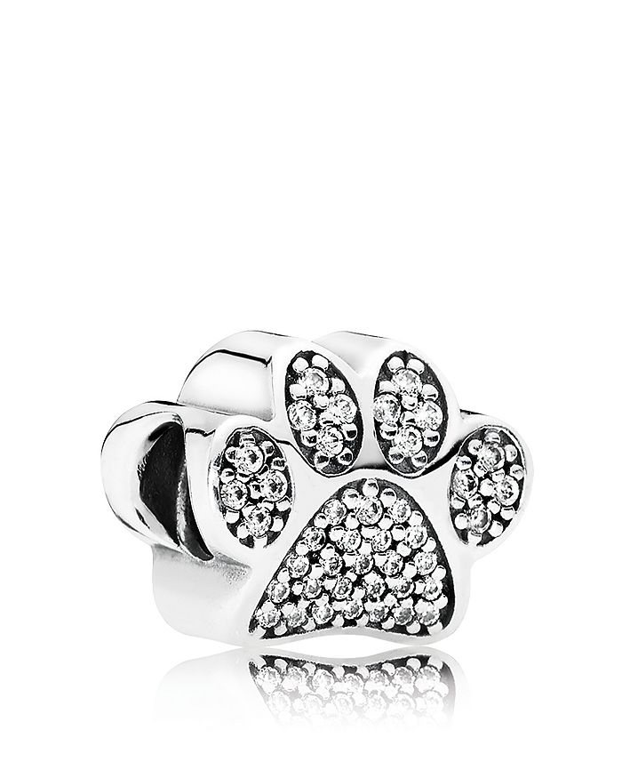 Pandora - Moments Collection Sterling Silver & Cubic Zirconia Paw Prints Charm