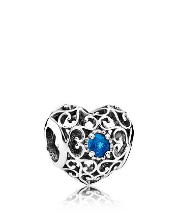 PANDORA - Charm - Sterling Silver & Crystal December Signature Heart