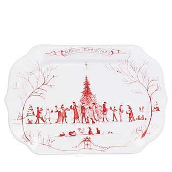 Juliska - Country Estate Winter Frolic Ruby Gift Tray, Merry Christmas