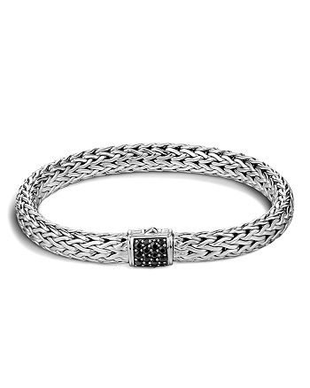 JOHN HARDY - Classic Chain Sterling Silver Lava Medium Bracelet with Black Sapphire