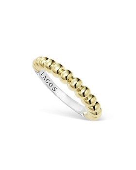 LAGOS - LAGOS Sterling Silver and 18K Gold Fluted Stacking Ring
