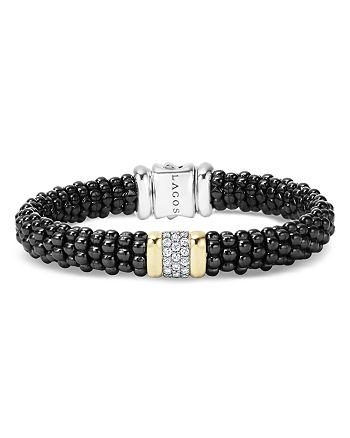 LAGOS - Black Caviar Ceramic and Pavé Diamond Bracelet with 18K Gold and Sterling Silver