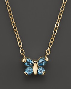 """Blue Topaz Butterfly Pendant Necklace in 14K Yellow Gold, 16"""" - 100% Exclusive - Bloomingdale's_0"""
