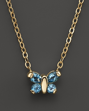 Blue Topaz Butterfly Pendant Necklace in 14K Yellow Gold, 16 - 100% Exclusive