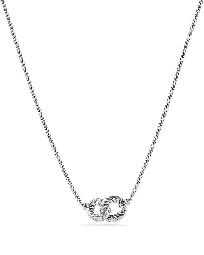 David Yurman Belmont Extra-Small 18K White Gold Double-Link Necklace With Diamonds In Silver