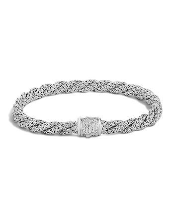 JOHN HARDY - Classic Chain Sterling Silver Extra Small Flat Twisted Chain Bracelet with Diamond Pavé