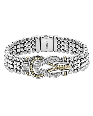 Lagos Sterling Silver and 18K Gold Newport Diamond Caviar Bracelet