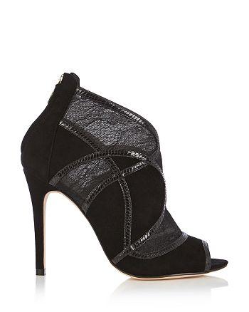 KAREN MILLEN - Lace Open Toe High Heel Booties