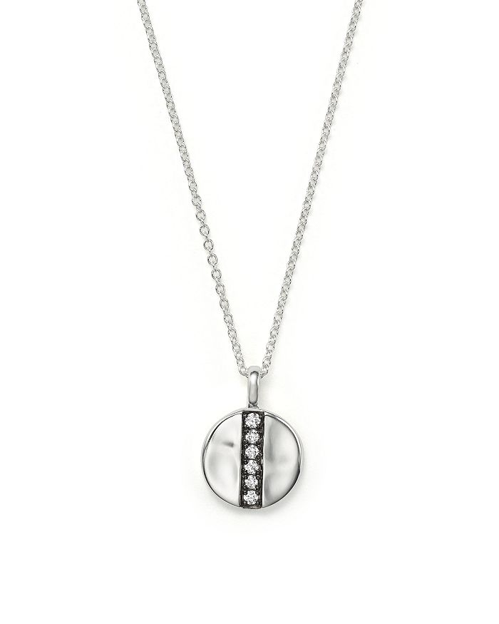 "IPPOLITA - Sterling Silver Glamazon® Stardust Mini Station Disc Pendant Necklace with Diamonds, 16"""