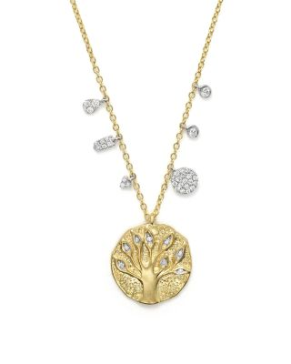 14K YELLOW GOLD TREE OF LIFE NECKLACE, 16