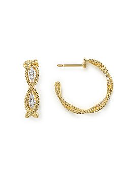 Roberto Coin - 18K Yellow Gold New Barocco Braided Hoop Earrings with Diamonds