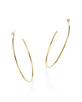 Zoë Chicco - 14K Gold Hoop Earrings with Bezel Set Diamonds