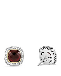 David Yurman - Albion Earrings with Garnet and Diamonds with 18K Gold