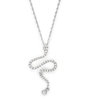 Diamond Snake Pendant Necklace in 14K White Gold, .20 ct. t.w. - 100% Exclusive