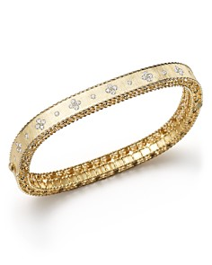 Roberto Coin - 18K Yellow Gold and Diamond Princess Bangle