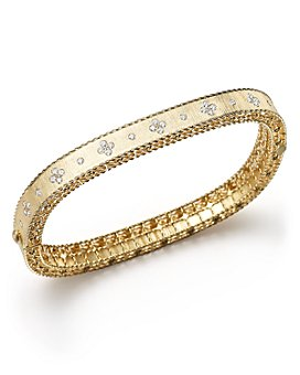 Roberto Coin - 18K Yellow Gold and Diamond Princess Bangle