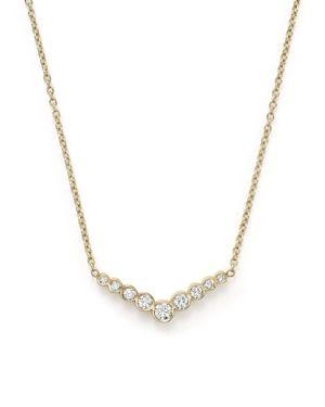 Zoe Chicco 14K Yellow Gold and Diamond Bezel-Set V Necklace, 16