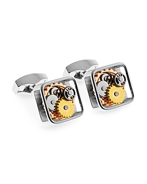 Tateossian Rhodium Square Open Gear Cufflinks