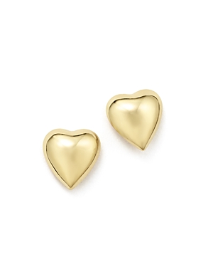 14K Yellow Gold Puffed Heart Stud Earrings - 100% Exclusive