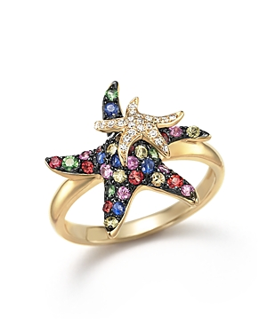 Multi Sapphire and Diamond Starfish Ring in 14K Yellow Gold - 100% Exclusive