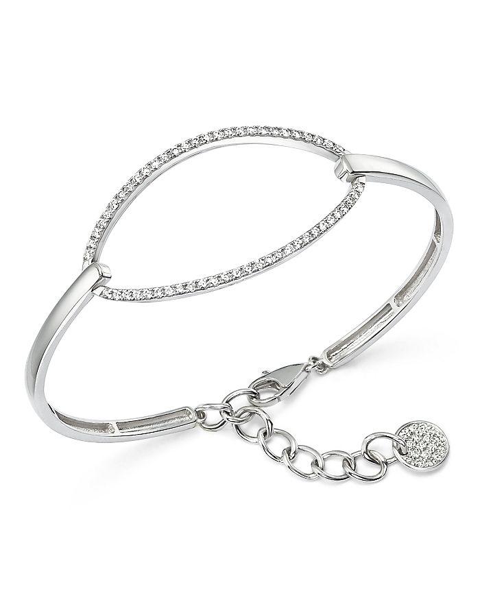 KC Designs - Diamond Oval Bangle Bracelet in 14K White Gold