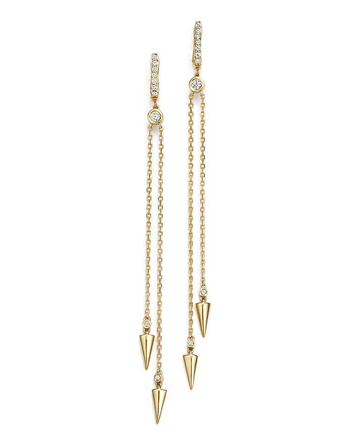 KC Designs - Diamond Spike Drop Earrings in 14K Yellow Gold
