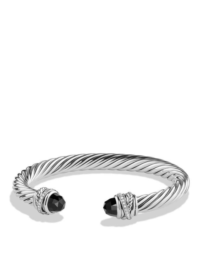 David Yurman Sterling Silver Crossover Bracelet with Diamonds & Gemstones    Bloomingdale's