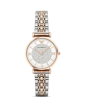 Emporio Armani Pave Two-Tone Watch, 32mm