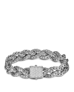 John Hardy Classic Chain Silver Small Braided Chain Bracelet with Diamond Pave, .42 ct. t.w.
