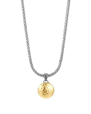 Sterling Silver And 18K Gold Palu Round Pendant On Chain Necklace, 16, Gold/Silver