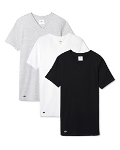 Lacoste - Cotton V-Neck Tee, Pack of Tee, Pack of 3