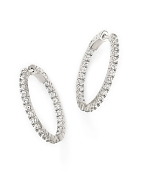 Bloomingdale's - Diamond Inside Out Hoop Earrings in 14K White Gold, 1.50 ct. t.w. - 100% Exclusive