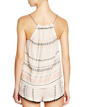 Gypsy05 Sand - Embroidered & Gathered Top Swim Cover-Up