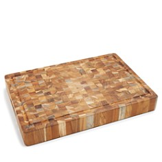 Teakhaus by Proteak - Butcher Block Rectangle End-Grain Cutting Board with Hand Grip and Juice Canal