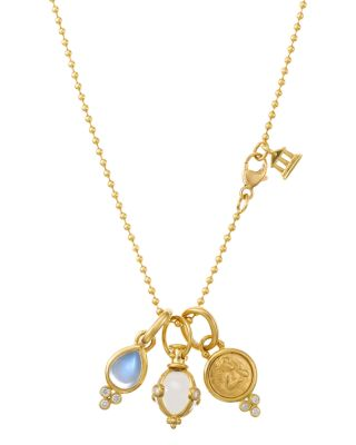 18K YELLOW GOLD THREE-CHARM GIFT SET WITH CHAIN, 16