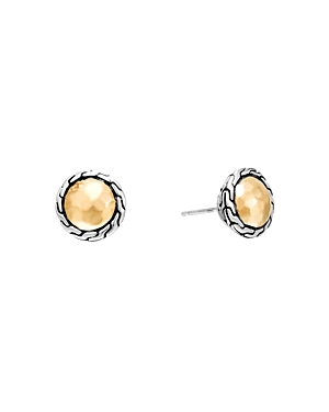 John Hardy Classic Chain Gold & Silver Round Stud Earrings