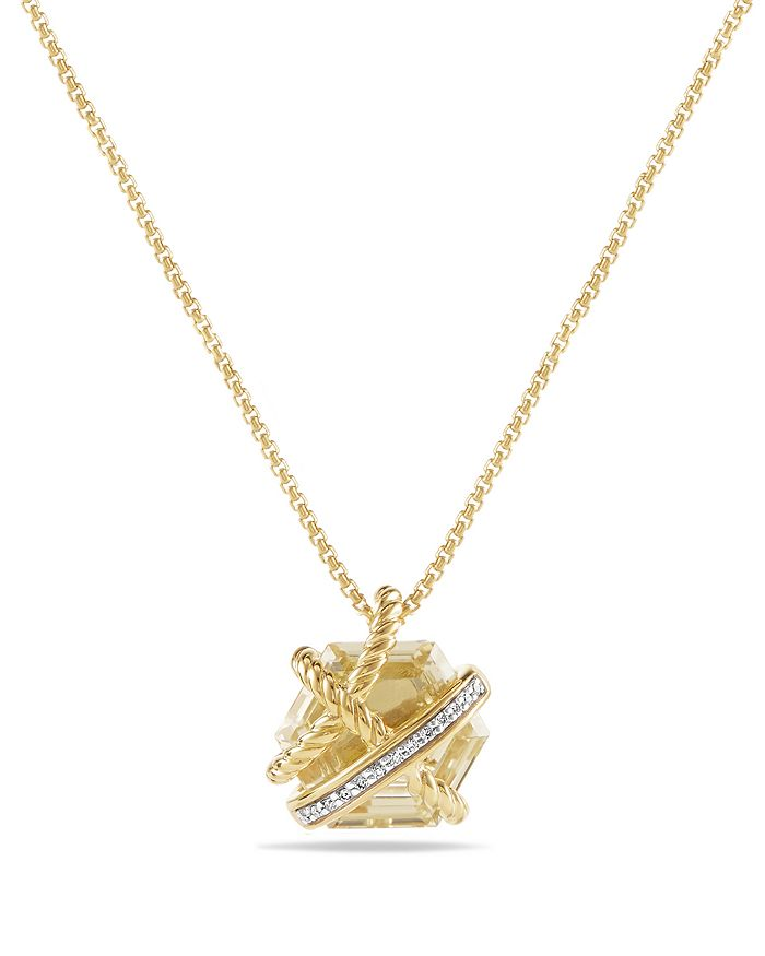 David Yurman - Cable Wrap Necklace with Champagne Citrine & Diamonds in 18K Gold